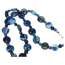 Vintage Cobalt Blue Agate & Chalcedony Bead Necklace