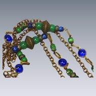 Exotic Edwardian Czech Brass Gablonz Peacock Glass Long Necklace