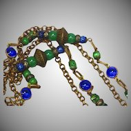 Exotic Edwardian Czech Brass Gablonz Glass Long Necklace