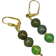 Gemstones Dragon's Vein Green Agate Bead Pierced Earrings