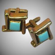 Unique Mid Century Modernist Turquoise Enamel Goldtone Classic Cuff Links Cufflinks