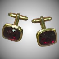 Cufflinks Large Ruby Red Multi Faceted Rhinestones Gold tone Cuff Links