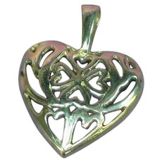 Sterling Silver Filigree Fancy Heart Charm Necklace Pendant