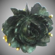 J.J. Black Rose on Brushed Gold Figural Floral Pendant Pin Brooch