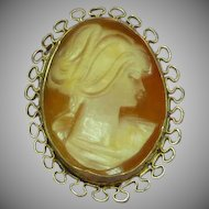 Vintage Early 20th Century 12K Gold-Filled Carved Shell Cameo Pendant Brooch