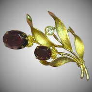 Emmons Large Purple Rhinestone and Clear Rhinestone Floral Spray Pin Brooch