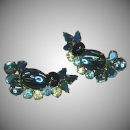 Vintage Juliana Delizza & Elster Blue Rhinestones Jelly Belly Art Glass Clip Earrings