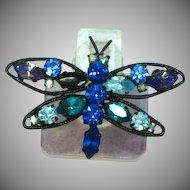 Austria Signed Butterfly Multi Blues  Rhinestones Japanned Pin Brooch