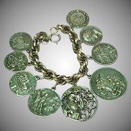 Coin Charms Silvertone Bracelet