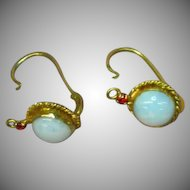 Opaline Opal Glass Gold Gilt Back-to-Front Close Pierced Earrings