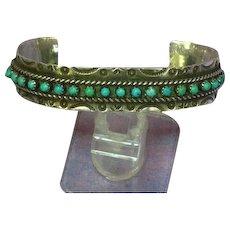 Native American Indian  Zuni Jason Pearl Ukestine Sterling Silver Snake Eye Turquoise Cuff Bracelet