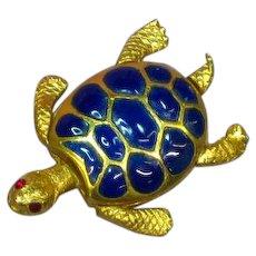 Enamel Rhinestones Goldtone Turtle Pin Brooch