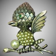 Tortolani Signed Faux Pearls Rhinestones Baby Bird Pin Brooch