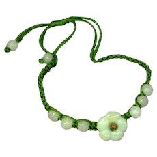 Jade Carved Flower Silk Slip Knot Bracelet
