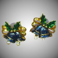 Christmas Fun Vintage  Moveable Clapper Bell Enamel Pierced Earrings