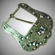 Mexico Mexican German Silver Marked Abalone Inlay LARGE Belt Buckle