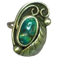Native American Navajo Sterling Silver Gorgeous Turquoise Ring
