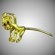 Articulated Tail Monkey Goldtone Pin Brooch