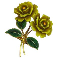 Celluloid Rhinestones Early Century Enamel Flower Pin Brooch