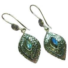 Labradorite Genuine Gemstone Sterling Silver Pierced Dangle Earrings