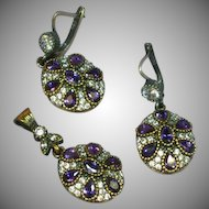 Stunning Sterling Silver Vermeil, Amethyst Gemstone  Princess Pendant and Pierced Earrings Set