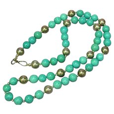 Native American Indian Hand Strung Turquoise and Silver Bead Necklace