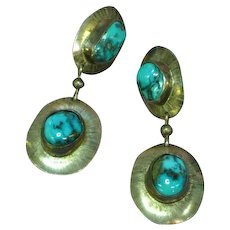 Natural Stormy Mountain Turquoise Native American Indian Sterling Silver Dangle Pierced Earrings