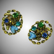 Austrian Crystal Blue Green Art Glass Clip Earrings