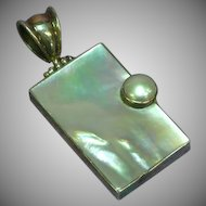 Mother of Pearl Custom Made Sterling Silver & Mabe' Pearl Necklace Pendant