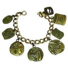 Gold Filled Link Bracelet with Brass Sorority Charms