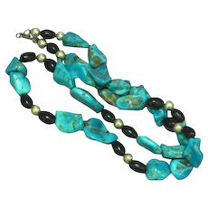 Native American Indian Turquoise Nugget Black Coral Sterling Silver Necklace