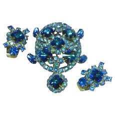 Royal Blue Rivoli Jeweled Rhinestone Figural Turtle  Pin Brooch Earrings Set Demi Parure