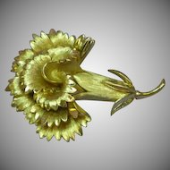 Crown Trifari Golden Carnation Flower Pin Brooch
