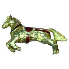 Enamel Rhinestones Carousel Horse Pin Brooch