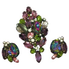 D&E DeLizza& Elster Rare Purple Pink Watermelon Rhinestone Pin Brooch Earrings Set Demi Parure