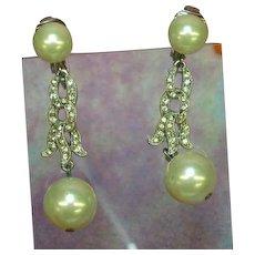 Vintage Pearl Rhodium Plated Rhinestone Faux Pearl Dangle Earrings