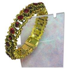 Pauline Rader Signed Red Rhinestones Hinged Clamper  Bangle Bracelet