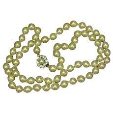 Vendome Signed Classic Elegant Single  Strand Cultured Pearls Necklace
