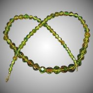 Rare Art Deco Era Cut Faceted  Bi-Color Crystal Beaded Necklace