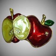 Vintage Enameled Apple Rhinestone Pin Brooch