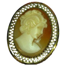 Gold Filled Cameo Carved Shell In Filigree Frame Pin Brooch Pendant