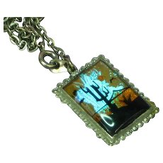 Exquisite BUTTERFLY WING Reverse Painted Vintage Estate Large Double Sided Pendant Necklace