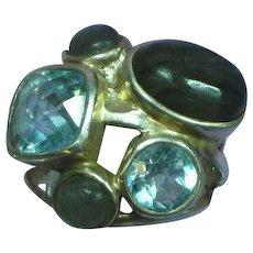 Gemstone Ring Sterling Silver Vintage Labradorite London BlueTopaz Multi Large Statement Ring Modern Contemporary