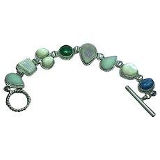 Gemstones Sterling Silver Vintage Multi  Carved Stone Toggle Bracelet