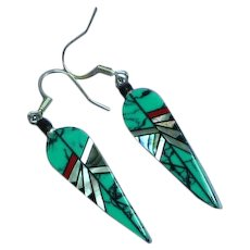 Native American Indian Zuni Turquoise Coral Jet MOP Inlay on Carved Bone Dangle Pierced Earrings