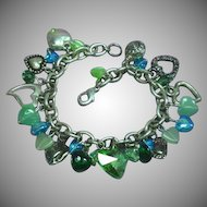 Hearts and Hearts with Swarovski Crystals Glass Sparkling Hearts and Beads Charm Bracelet