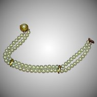 Exquisite 14K Yellow Gold Double Strand Cultured Fine Estate Pearl Bracelet