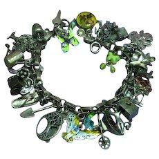 Gertrude's Garden-2 Gardening Themed Loaded Sterling Silver Charm Bracelet