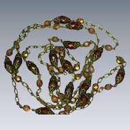 """Faceted Mirror Crystals 48"""" Long Flapper Necklace with Faceted Amber Beads"""