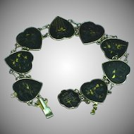 Art Deco 1930's  24 Karat Gold Inlaid Sterling Japanese Shakudo Damascene Panel Bracelet